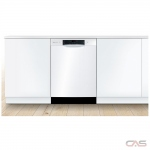 Bosch 300 Series SHEM53Z32C Built-In Undercounter Dishwasher, 24 Exterior Width, 4 Wash Cycles, Stainless Steel (Interior), 3 Loading Racks, Full Console, 15 Capacity (Place Settings), 46 dB Decibel Level, White colour (Silverware Basket Sold Separately)