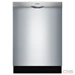Bosch 100 Series SHSM4AZ55N Built-In Undercounter Dishwasher, 24 Exterior Width, 5 Wash Cycles, Stainless Steel (Interior), 3 Loading Racks, Fully Integrated, 14 Capacity (Place Settings), 48 dB Decibel Level, Stainless Steel colour