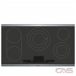 Bosch Benchmark Series NETP668SUC Cooktop, Electric Cooktop, 36 inch, 5 Burners, 3800W, Stainless Steel colour