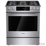 Bosch 800 Series HGI8054UC, Gas Range, 30 Exterior Width, Self Clean, Convection, 5 Burners, Sealed Burners (Gas), Warming Drawer, 4.8 Capacity, 1 Ovens, Slide In, 18K, Stainless Steel colour