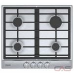 Bosch 500 Series NGM5456UC Cooktop, Gas Cooktop, 24 inch, 4 Burners, 11.5K BTU, Stainless Steel colour