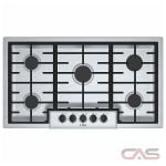 Bosch 500 Series NGM5656UC Cooktop, Gas Cooktop, 36 inch, 5 Burners, Stainless Steel, 16K, Stainless Steel colour