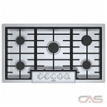 Bosch 800 Series NGM8656UC Cooktop, Gas Cooktop, 36 inch, 5 Burners, 19K BTU, Stainless Steel colour
