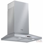 Bosch 300 Series HCP34E52UC Hood, 24 Exterior Width, Chimney & Canopy, Accepts Both, LED, 300 CFM, Wall Mounted, Dishwasher Safe Filters, Aluminum Mesh, Stainless Steel colour Blower Included