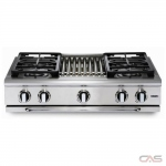 Capital GRT364B Rangetop, Gas Cooktop, 36 inch, 4 Burners, 19K BTU, Stainless Steel colour