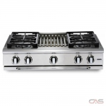 Capital GRT364G Rangetop, Gas Cooktop, 36 inch, 4 Burners, 19K BTU, Stainless Steel colour