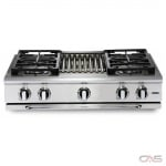 Capital GRT364W Rangetop, Gas Cooktop, 36 inch, 4 Burners, 19K BTU, Stainless Steel colour