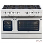 Capital CGSR488 Range, Gas Range, 48 Exterior Width, Self Clean, Convection, 8 Burners, Open Burners (Gas), 6.9 cu. ft. Capacity, 2 Ovens, Free Standing, 25K BTU, Stainless Steel colour