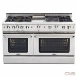 Capital CGSR604B4 Range, Gas Range, 60 Exterior Width, Self Clean, Convection, 8 Burners, Open Burners (Gas), 8.0 cu. ft. Capacity, 2 Ovens, Free Standing, 25K BTU, Stainless Steel colour