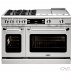 Capital CSB488 Range, Dual Fuel Range, 48 Exterior Width, Self Clean, Convection, 8 Burners, Sealed Burners (Gas), 7.8 cu. ft. Capacity, 2 Ovens, Free Standing, 19K BTU, Stainless Steel colour