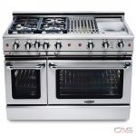 Capital GSCR488 Range, Gas Range, 48 Exterior Width, Self Clean, Convection, 8 Burners, Sealed Burners (Gas), 6.9 cu. ft. Capacity, 2 Ovens, Free Standing, 19K BTU, Stainless Steel colour