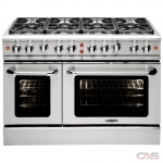 Capital MCR488 Range, Gas Range, 48 Exterior Width, Convection, 8 Burners, Sealed Burners (Gas), 7.6 cu. ft. Capacity, 2 Ovens, Free Standing, 19K BTU, Stainless Steel colour