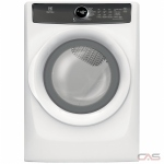 "Electrolux EFMC427UIW Dryer, 27"" Width, Electric Dryer, 8.0 cu. ft. Capacity, 7 Dry Cycles, 4 Temperature Settings, Stackable, Steel Drum, Steam Clean, Island White colour"