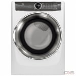 "Electrolux EFMC627UIW Dryer, 27"" Width, Electric Dryer, 8.0 cu. ft. Capacity, 9 Dry Cycles, 5 Temperature Settings, Stackable, Steel Drum, Steam Clean, Island White colour"