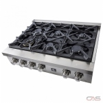Forno FCTGS5714-36 Rangetop, Gas Cooktop, 36 inch, 6 Burners, 20K BTU, Stainless Steel colour