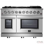 Forno FFSGS6239-48 Range, Gas Range, 48 Exterior Width, 8 Burners, Sealed Burners (Gas), 7.0 cu. ft. Capacity, 2 Ovens, Free Standing, 15K BTU, Stainless Steel colour