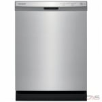 Frigidaire FFCD2418US Built-In Undercounter Dishwasher, 24 Exterior Width, 5 Wash Cycles, 2 Loading Racks, Full Console, 14 Capacity (Place Settings), Hard Food Disposal, 55 dB Decibel Level, Stainless Steel colour