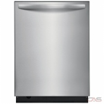 Frigidaire FFID2459VS Built-In Undercounter Dishwasher, 24 Exterior Width, 5 Wash Cycles, Stainless Steel (Interior), 2 Loading Racks, Fully Integrated, 12 Capacity (Place Settings), Hard Food Disposal, 49 dB Decibel Level, Stainless Steel colour