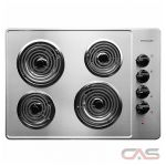 Frigidaire FFEC3005LS Cooktop, Electric Cooktop, 30 inch, 4 Burners, Stainless Steel, Stainless Steel colour