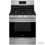 Frigidaire Gallery FGGF3059TF Range, Gas Range, 30 Exterior Width, Self Clean, Convection, 5 Burners, Sealed Burners (Gas), Storage Drawer, 5.0 cu. ft. Capacity, 1 Ovens, Free Standing, 18K BTU, Stainless Steel colour