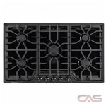 Frigidaire Gallery FGGC3645QB Cooktop, Gas Cooktop, 36 inch, 5 Burners, 18K BTU, Black colour
