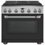 GE Cafe CGY366P3MD1 Range, Gas Range, 36 Exterior Width, Self Clean, Convection, 6 Burners, Sealed Burners (Gas), 6.2 cu. ft. Capacity, 1 Ovens, Free Standing, 18K BTU, Matte Black colour