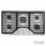 GE PGP9036SLSS, Gas Cooktop, 36 inch, 5 Burners, Porcelain Enamel, 18K, Stainless Steel colour