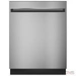 GE GDT225SSLSS Built-In Undercounter Dishwasher, 24 Exterior Width, 3 Wash Cycles, Stainless Steel (Interior), 2 Loading Racks, Fully Integrated, 12 Capacity (Place Settings), Hard Food Disposal, 51 Decibel Level, Wifi Enabled, Stainless Steel colour