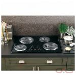 GE JP328BKBB Cooktop, Electric Cooktop, 30 inch, 4 Burners, Stainless Steel, Black on Black colour