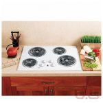 GE JP328WKWW Cooktop, Electric Cooktop, 30 inch, 4 Burners, Stainless Steel, White on White colour