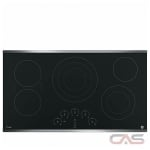 GE Profile PP9036SJSS Cooktop, Electric Cooktop, 36 inch, 5 Burners, 3000W, Stainless Steel colour