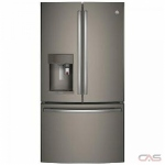 GE Profile PFE28PMKES, 36 Width, Thru Door Ice Dispenser, Energy Efficient, 27.7 Capacity, Exterior Water Dispenser, LED Lighting, Slate colour Keurig® K-Cup® Brewing System
