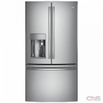 GE Profile PFE28PSKSS, 36 Width, Thru Door Ice Dispenser, Energy Efficient, 27.7 Capacity, Exterior Water Dispenser, LED Lighting, Stainless Steel colour Keurig® K-cup® Brewing System