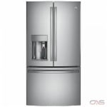 GE Profile PYE22PSKSS, 36 Width, Thru Door Ice Dispenser, Energy Efficient, 22.2 Capacity, Counter Depth, Exterior Water Dispenser, LED Lighting, Stainless Steel colour Keurig® K-cup® Brewing System