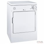 GE PSKP333EBWW Dryer, 24 Width, Electric Dryer, 3.6 Capacity, 3 Dry Cycles, 3 Temperature Settings, Porcelain Drum, White colour 120 Volts