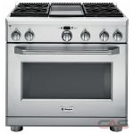 Monogram ZGP364NDRSS Range, Gas Range, 36 inch, Self Clean, Convection, 4 Burners, Sealed Burners (Gas), 6.2 cubic ft, Free Standing, Stainless Steel colour