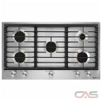 Jenn-Air Euro Style JGC3536GS Cooktop, Gas Cooktop, 36 inch, 5 Burners, Stainless Steel, 20K, Stainless Steel colour