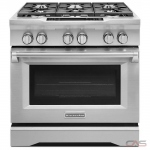 KitchenAid KDRS467VSS, Dual Fuel Range, 36 Exterior Width, Self Clean, Convection, 6 Burners, Sealed Burners (Gas), 5.1 Capacity, 1 Ovens, Free Standing, 20K, Stainless Steel colour