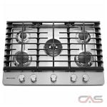 KitchenAid KCGS550ESS Cooktop, Gas Cooktop, 30 inch, 5 Burners, Stainless Steel colour