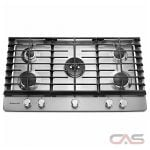 KitchenAid KCGS556ESS Cooktop, Gas Cooktop, 36 inch, 5 Burners, Stainless Steel, Stainless Steel colour