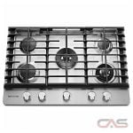 KitchenAid KCGS950ESS Cooktop, Gas Cooktop, 30 inch, 5 Burners, Stainless Steel colour