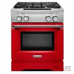 KitchenAid KDRS407VSD Range, Dual Fuel Range, 30 inch, Self Clean, Convection, 4 Burners, Sealed Burners (Gas), 4.1 cubic ft, Slide In, Signature Red colour