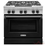 KitchenAid KDRS467VBK Range, Dual Fuel Range, 36 inch, Self Clean, Convection, 6 Burners, Sealed Burners (Gas), 5.1 cubic ft, Slide In, Imperial Black colour