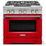 KitchenAid KDRS467VSD Range, Dual Fuel Range, 36 inch, Self Clean, Convection, 6 Burners, Sealed Burners (Gas), 5.1 cubic ft, Slide In, Signature Red colour
