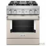 KitchenAid KFDC500JMH Range, Dual Fuel Range, 30 Exterior Width, Self Clean, Convection, 4 Burners, Sealed Burners (Gas), 4.1 cu. ft. Capacity, 1 Ovens, Free Standing, Wifi Enabled, 20K BTU, Milk Shake colour