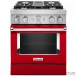 KitchenAid KFDC500JPA Range, Dual Fuel Range, 30 Exterior Width, Self Clean, Convection, 4 Burners, Sealed Burners (Gas), 4.1 cu. ft. Capacity, 1 Ovens, Free Standing, Wifi Enabled, 20K BTU, Passion Red colour