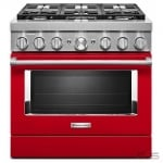 KitchenAid KFDC506JPA Range, Dual Fuel Range, 36 Exterior Width, Self Clean, Convection, 6 Burners, Sealed Burners (Gas), 5.1 cu. ft. Capacity, 1 Ovens, Free Standing, Wifi Enabled, 20K BTU, Passion Red colour