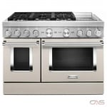 KitchenAid KFDC558JMH Range, Dual Fuel Range, 48 Exterior Width, Self Clean, Convection, 6 Burners, Sealed Burners (Gas), 6.3 cu. ft. Capacity, 2 Ovens, Free Standing, Wifi Enabled, 20K BTU, Milk Shake colour