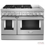 KitchenAid KFDC558JPA Range, Dual Fuel Range, 48 Exterior Width, Self Clean, Convection, 6 Burners, Sealed Burners (Gas), 6.3 cu. ft. Capacity, 2 Ovens, Free Standing, Wifi Enabled, 20K BTU, Passion Red colour