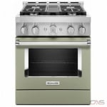 KitchenAid KFGC500JAV Range, Gas Range, 30 Exterior Width, Self Clean, Convection, 4 Burners, Sealed Burners (Gas), 4.1 cu. ft. Capacity, 1 Ovens, Free Standing, Wifi Enabled, 20K BTU, Avocado Cream colour